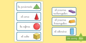 Tarjetas de vocabulario: Figuras 3D - figuras 3D, cuerpos geométricos, mates, matemáticas, geometría, aristas, vértices, caras,vocabul