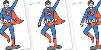KS1 Keywords on Superhero - KS1, CLL, Communication language and literacy, Display, Key words, high frequency words, foundation stage literacy, DfES Letters and Sounds, Letters and Sounds, spelling