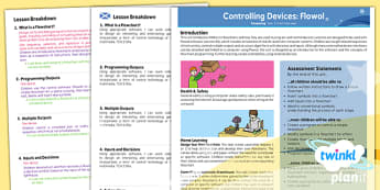 PlanIt - Computing Year 5 - Controlling Devices Flowol Planning Overview CfE - planit