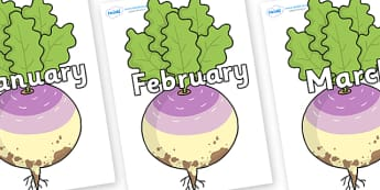 Months of the Year on Enormous Turnip - Months of the Year, Months poster, Months display, display, poster, frieze, Months, month, January, February, March, April, May, June, July, August, September
