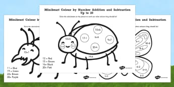 Minibeast Colour by Number Addition and Subtraction Pack - minibeast, colour by number, addition, subtraction