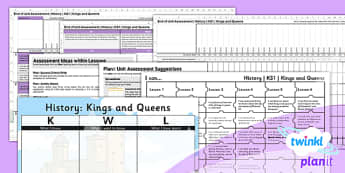 PlanIt History KS1 Kings and Queens Unit Assessment Pack - recording, measuring, progress, learning, marking, mark, data, objectives, key stage 1, humanities, topic