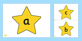 A-Z Alphabet on Stars - Alphabet frieze, Letter posters, Display letters, A-Z letters, Alphabet flashcards