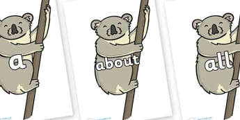 100 High Frequency Words on Koalas - High frequency words, hfw, DfES Letters and Sounds, Letters and Sounds, display words