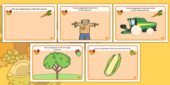 Harvest Playdough Mats - Harvest, playdough, mat, Autumn, seasons,  A4, display, harvest, harvest festival, fruit, apple, pear, orange, wheat, bread, grain, leaves, conker