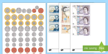 New British (UK) Coins Cut Outs - coins, money, counting