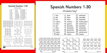 Spanish Numbers 1-30 How Many Worksheet - worksheets, Spain