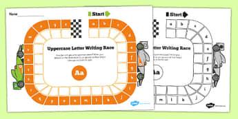Uppercase Letter Writing Race Worksheet - writing, race, letters