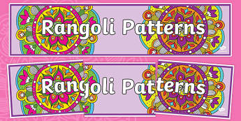 Rangoli Patterns Display Banner - rangoli patterns display banner, pattern, rangoli, display, banner, sign, poster, drawing, colouring, colour, art