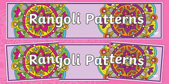 Rangoli Patterns Display Banner - rangoli patterns display banner, pattern, rangoli, display, banner, sign, poster, drawing, colouring, colour, art