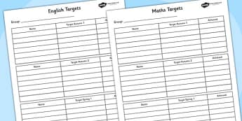 Half Termly Group Maths and English Targets- Maths, English, Numeracy, Literacy, targets, half term targets, maths targets, english targets, my targets