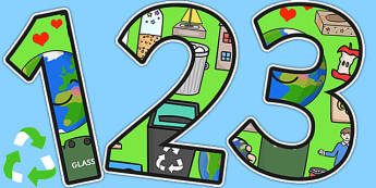 Recycling Themed A4 Display Numbers - recycle, environment, eco