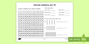 Tabellina del 10 Esercizi Attività - tabellina, del, 10, multipli, esercizi, matematica, moltiplicazioni, italian, italiano, materiale, s