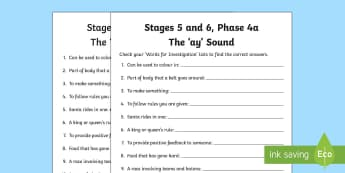 Northern Ireland Linguistic Phonics Stage 5 and 6 Phase 4a, 'ay' Sound Word Work Activity Sheet - Linguistic Phonics, Stage 5, Stage 6, Phase 4a, Northern Ireland, 'ay' sound, word work, anagram