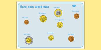 Euro Coins Word Mat - euro, coins, word, mat, word mat, money