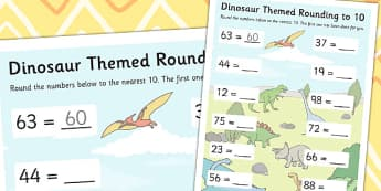Dinosaur Themed Rounding To 10 Worksheet - Dinosaur, Round, Ten