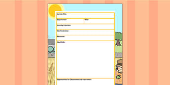 Harvest Themed Adult Led Carpet Based Activity Planning Template
