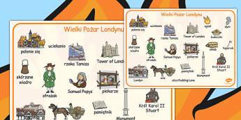Plansza ze słownictwem Wielki pożar Londynu po polsku - nauka , Polish