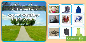Photo Weather Clothes Shape Sorting Activity Sheet English/French - Photo Weather Clothes Sorting Activity - photo, weather, clothes, sorting, activity,waether, WHEATHE