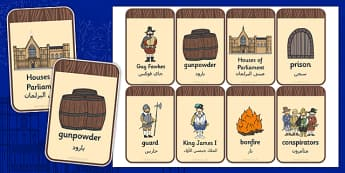 The Gunpowder Plot Flashcards Arabic Translation - arabic, gunpowder