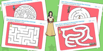 Snow White and the Seven Dwarfs Differentiated Maze Sheets  , worksheet