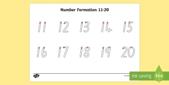 Number Formation 11-20 Activity Sheet - New Zealand, maths, number formation, handwriting, number recognition