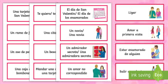 Valentine's Day Word Cards - Valentines Day, 14th February, word, cards, vocabulary, expressions, spanish, Español