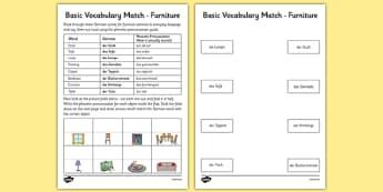 German Basic Vocabulary Match Furniture - german, basic vocabulary, furniture, match
