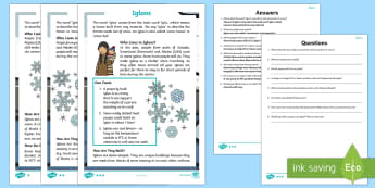 KS1 Igloos Differentiated Reading Comprehension Activity - igloo, igloos, homes, house, shelter, snow house, snow hut, Inuit, Inuk, Eskimos, snow, ice, The Arc