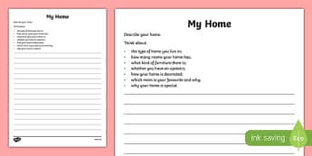Houses and Homes: Describe Your Home Activity Sheet, worksheet