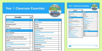 Year 1 Classroom Essentials Checklist