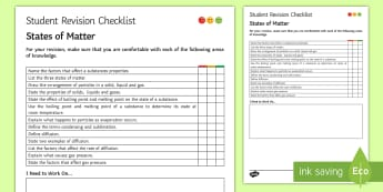 States of Matter Student Revision Checklist - Student Progress Sheet (KS3), states of matter, solid, liquid, gas, boiling point, melting point, di