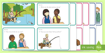 Father's Day Scene and Question Cards - Father's Day, dad, comprehension, retrieval