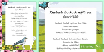 Kuckuck, Kuckuck rufts aus dem Wald Lied - Frühling, Lied, Singen, Liedertext,German