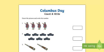Columbus Day Math Differentiated Counting Activity Sheet, worksheet