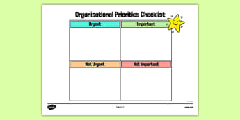 Organisational Priorities Checklist Planner - organisational, priorities, checklist, planner