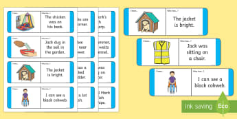 Phase 3 Sentence Loop Cards - Year1, Year 2, Reception, Key Stage One, Key Stage 1, KS1, Letters and Sounds, Phonics, Sentences, D