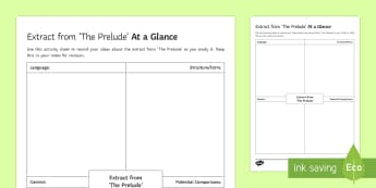 At a Glance Activity Sheet to Support Teaching on 'The Prelude' by William Wordsworth  - GCSE Poetry, prelude, at a glance