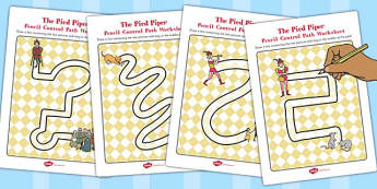 The Pied Piper Pencil Control Path Worksheets - control, pack
