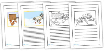 Farmer Duck Story Writing Frames - farmer duck, writing frames, lined, frames for writing, themed writing frames, writing template, colour and write, story