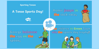 Spag-tastic!: A Tense Sports Day! (What Are Simple Past and Present Tenses?) Video - video, tenses, tense agreement, KS1, Y1, Y2, year 1, year 2, SPaG, grammar, gps,
