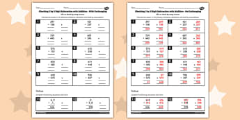 Y3 Inverse Check 3 Digit 3 Subtraction Addition Exchanging Sheet