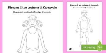 Crea il Tuo Costume di Carnevale - crea, il, tuo, costume, di carnevale, travestimento, disegno, disegna, italian, italiano