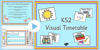 Interactive Visual Timetable Powerpoint - presentation, schedule, daily, weather, date, lessons, routine