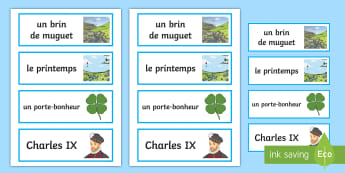 Cartes de vocabulaire : la fête du 1er mai - Le 1er mai, cycle 2, cycle 3,  KS2, 1st May, fête du travail, muguet, labour day, word cards, carte
