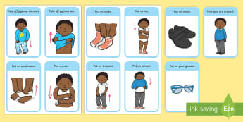 Getting Dressed Routine Cards (Boys) - Visual Timetable, SEN, Daily Timetable, School Day, Daily Activities, Daily Routine KS1,