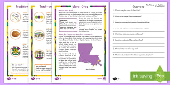 Mardi Gras Differentiated Reading Comprehension Activity - Mardi Gras, Fat Tuesday, Shrove Tuesday, Carnival