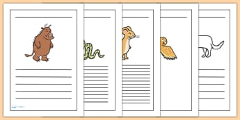 The Gruffalo Writing Frames-  the gruffalo, writing frames, writing aid, writing template, writing guides, line guides, lined pages, guided writing, write