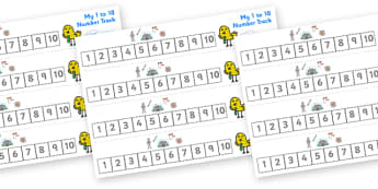 Pirates Number Track (1-10) - Knights, Castles,  Maths, Math, number track, farm, numbertrack, Counting, Numberline, Number line, Counting on, Counting back, Castles and Knights, maiden, castle, tower, dragon, sword, horse, flag, shield, dungeon