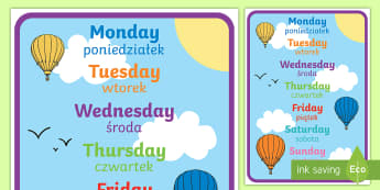 Days of the Week A4 Display Poster English/Polish - Days of the week, days, display, poster, Polish-translation